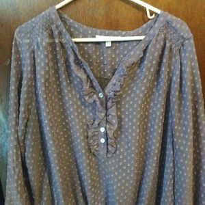 Vintage Sheer Grey Blouse XL